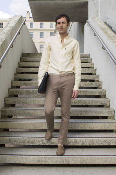 black Zara bag - light yellow ben sherman shirt - tan Top Man pants