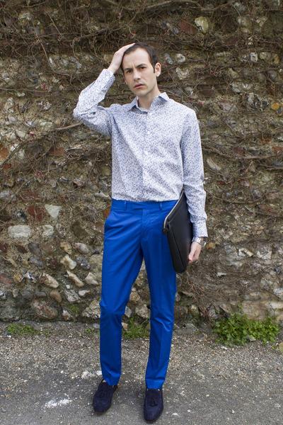 blue H&M pants - navy Zara shoes - sky blue Jeff Banks shirt - black Zara bag