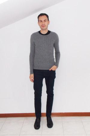 black DKNY t-shirt - navy Zara jeans - heather gray Zara sweater