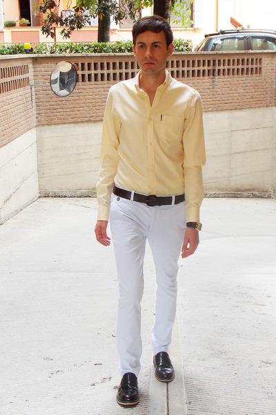 brown Orient watch - light yellow ben sherman shirt