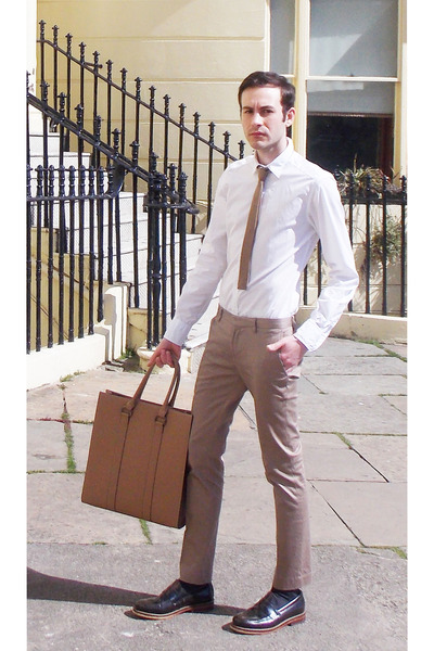 white Dolce&Gabbana shirt - brown River Island shoes - tan Zara bag