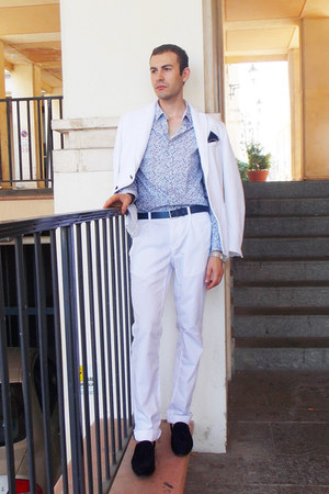 navy Zara shoes - white Zara jacket - sky blue Jeff Banks shirt