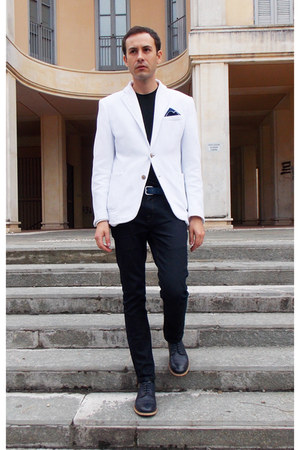 navy H&M shoes - navy Zara jeans - white Zara blazer - black DKNY t-shirt