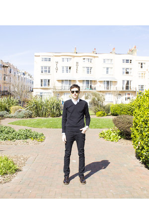 black Burton sweater - dark brown River Island shoes - white Dolce&Gabbana shirt