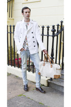 white DSquared jacket - brown River Island shoes - charcoal gray Zara jeans