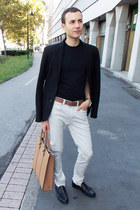 black Zara blazer - off white River Island jeans - mustard Zara bag