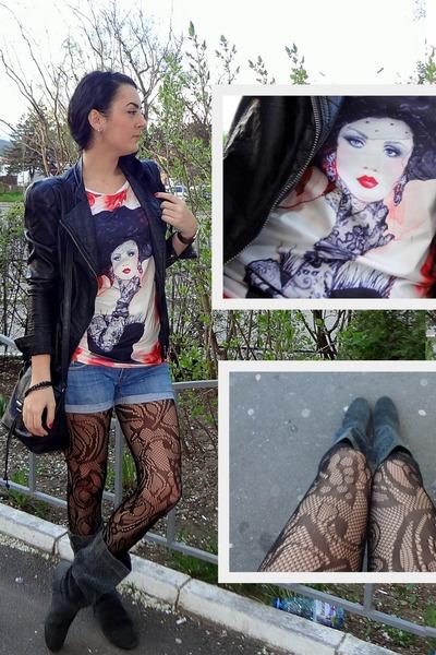 black crochet Takko tights - gray suede Zara boots - black leather Zara jacket