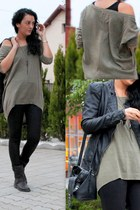 black Deichmann boots - black leather black Zara leggings - dark khaki hm top