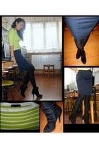 chartreuse stripes Zara blouse - black velvet fringe Zara heels