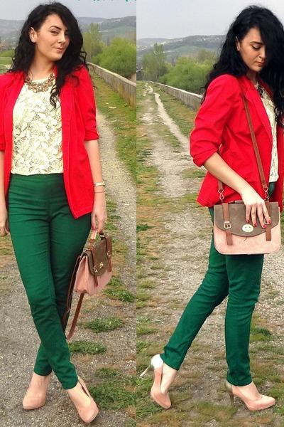 red vintage vintage blazer - peach suede golden Deichmann heels