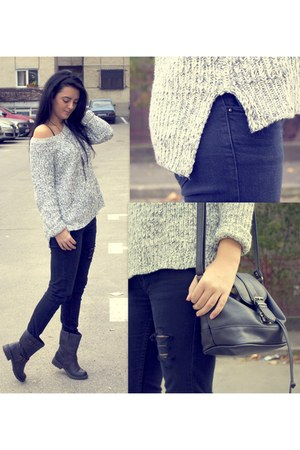 black Stradivarius jeans - dark brown Deichmann boots - off white H&M sweater