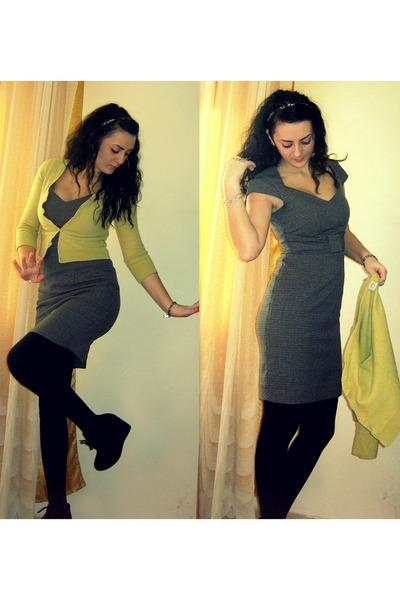 light brown graphic pattern H&M dress - mustard wool Esprit cardigan