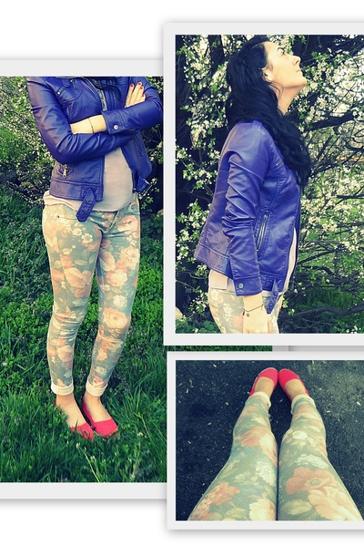 peach floralskinny raspberry jeans - deep purple leather Local store jacket