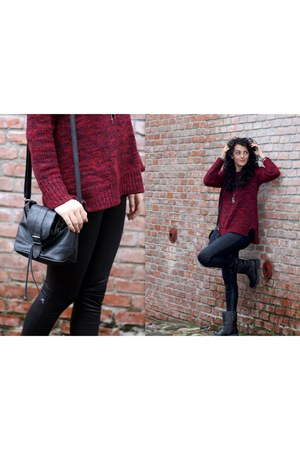 brick red angora  wool Mango sweater - dark gray Deichmann boots