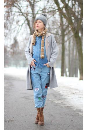 silver Zara cardigan - blue Bershka jeans