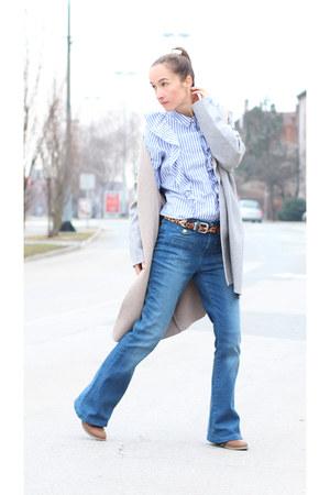 light blue Bershka shirt - silver Zara cardigan - gold asos hair accessory