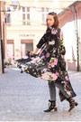 Black-zara-dress-forest-green-zara-top-black-zara-heels