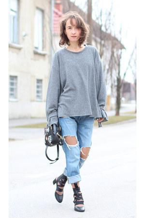Zara jeans - Zara bag - Zara heels - heather gray Bershka top