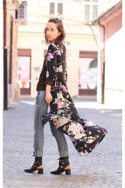 forest green Zara top - black Zara dress - black Zara heels