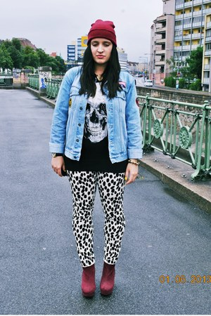 dotted H&M pants - beanie no name hat - denim vintage jacket