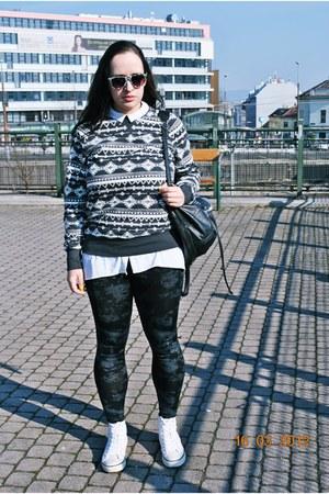 aztec H&M men sweater - Gate leggings - h&m divided blouse - H&M sneakers