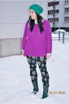 beanie H&M hat - studded deezee boots - H&M sweater