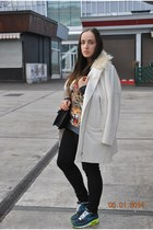 H&M coat - F&F jeans - Mango bag - Aliexpress sweatshirt - nike air max sneakers