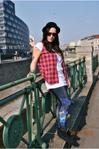 plaid H&M vest - H&M hat - galaxy printed romwe leggings - reserved shirt