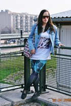 denim vintage jacket - h&m divided leggings - CRO for H&M shirt