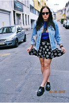 h&m divided skirt - denim vintage jacket - sammydress shirt - Primark bag