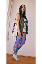 Primark bag - vintage leggings - New Yorker shirt - Primark vest - H&M sneakers