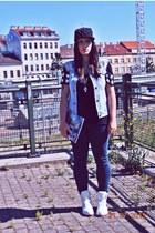 Primark jeans - romwe hat - Zara shirt - Bershka bag - DIY vest