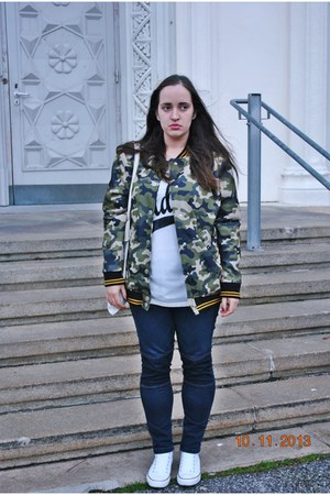 Rihanna for River Island jacket - Primark jeans - Primark shirt - H&M bag