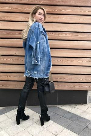 blue Zara jacket - black Chanel bag