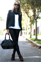 burgundy Schutz sneakers - black Zara blazer