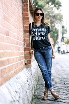 dark gray t-shirt Sincerely Jules shirt - navy boyfriend jeans Zara jeans
