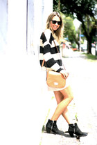 golden striped Farm sweater - Topshop boots - Michael Kors bag - canal skirt