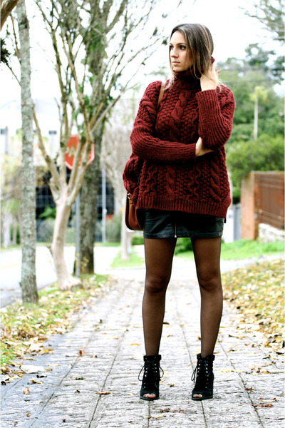 Brick Red Burgundy Wool Zara Sweaters, Black Black Shoes WO Shoes ...