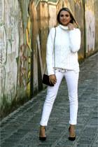white canal jeans - white chuncky white Zara sweater