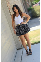 black Forever 21 skirt - white H&M top - black Steve Madden wedges