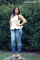 blue Target jeans - cream peplum top Primark top - nude Steve Madden heels