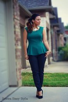 green Mango top - black H&M pants - black Forever 21 heels