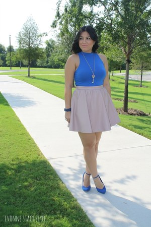 blue UrbanOG shoes - blue Forever 21 top - light pink H&M skirt