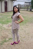 nude Zara leggings - beige Forever 21 top - hot pink Steve Madden heels