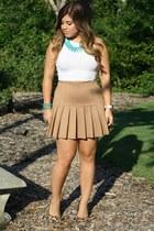 bronze Forever 21 skirt - bronze Steve Madden heels - cream H&M top