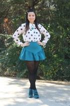 teal asos skirt - white polka dots Forever 21 blouse - teal Forever 21 heels
