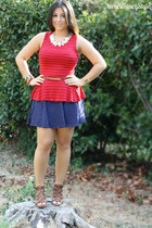 ruby red striped peplum TJ Maxx top - navy polka dots Forever 21 skirt