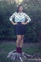 crimson Forever 21 boots - black Forever 21 skirt