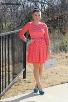 red The Stylish closet dress - teal Aldo heels