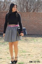 black DIY skirt - black Forever 21 heels - black cropped top Charlotte Russe top